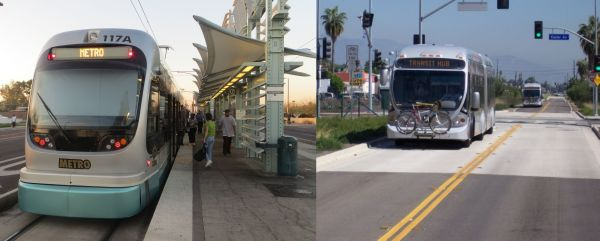 "Phoenix light rail transit (LRT, left); Los Angeles Orange Line ""bus rapid transit"" (BRT, right). Photos: L. Henry."