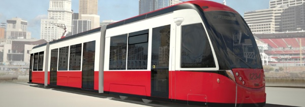 Another simulation view of the CAF streetcar on order for Cincinnati. Graphic: CincyStreetcar blog.