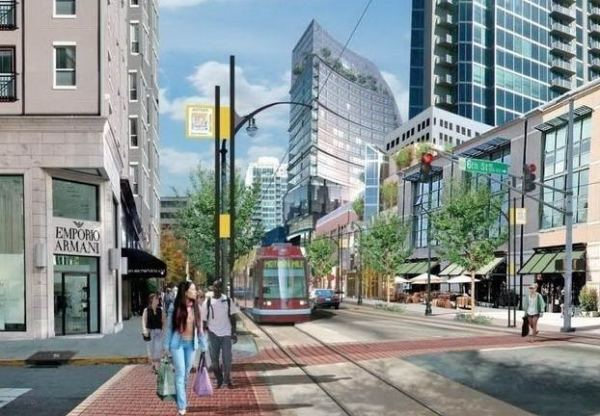 Simulation of Atlanta's Peachtree St. streetcar. Graphic: Railway Preservation.