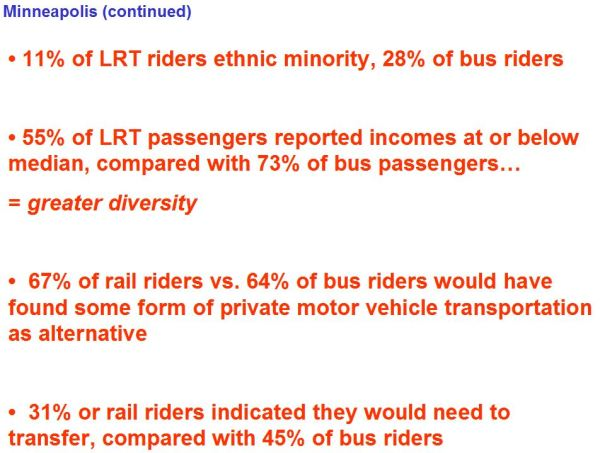 Summary of some study data supporting income/ethnic diversity on Hiawatha LRT system.