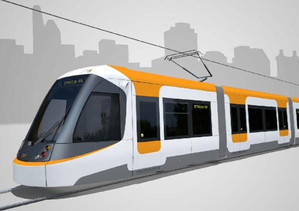 Cincinnati streetcar on order from builder CAF. Simulation: City of Cincinnati.