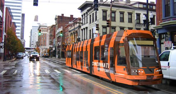 Cincinnati: Simulation of streetcar running downtown. Graphic: City of Cincinnati.