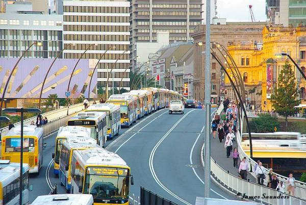"Massive bus traffic jam in Brisbane, Australia illustrate problem of fitting ""BRT"" into a high-capacity application. Photo: James Saunders."