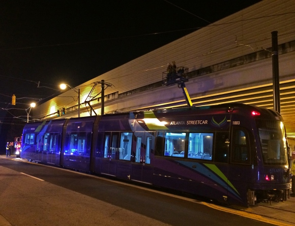 First Siemens streetcar being readied for testing in the dead of night to minimize traffic disruption. Photo via Atlanta Curbed website.