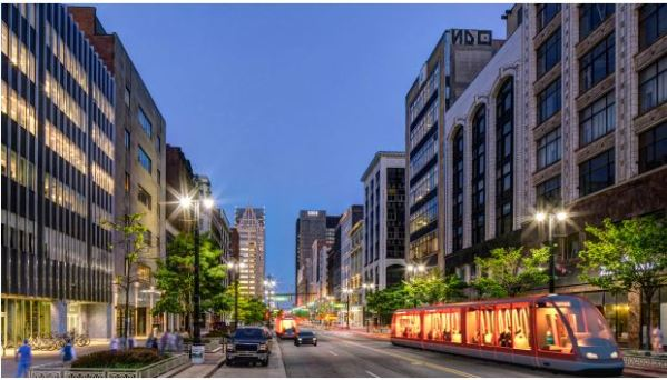 Artist's rendition of how the streetcar operation may look on Woodward Avenue when it's completed. Graphic: M-1 Rail.