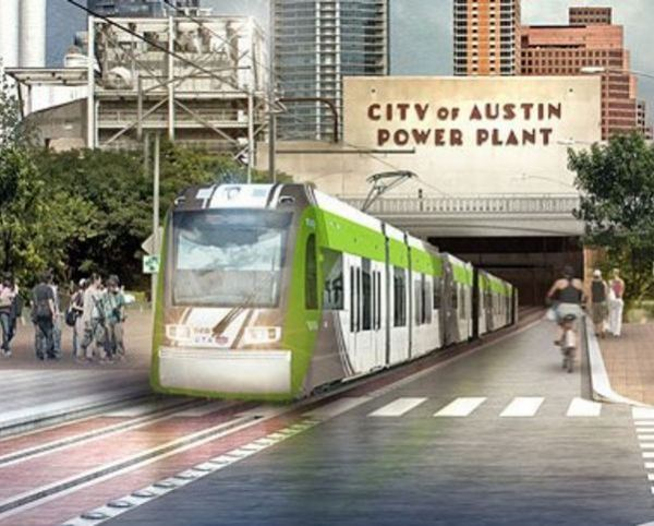 Proposed alternative Plan B for Austin's Guadalupe-Lamar corridor would also have branch serving re-purposed Seaholm power plant site and Amtrak station. Graphic: Project Connect.