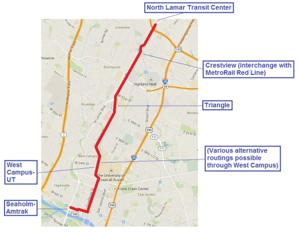 Plan B LRT line would stretch 6.8 miles from a major transit center on the north to the CBD, with a branch west to the Seaholm-Amtrak development site. Map: Austin Rail Now.
