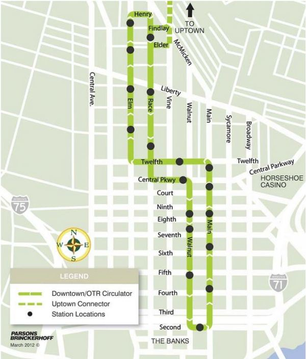 Map of Cincinnati's Phase 1 streetcar project, the first phase of hopefully a much larger urban rail system for the city. Map: City of Cincinnati.