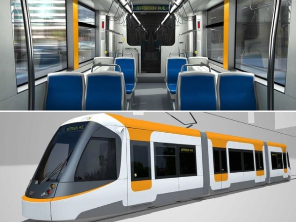CAF Urbos 3 streetcar for Cincinnati. Top: Interior. Bottom: Exterior. Graphic: CAF.