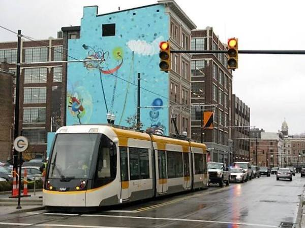 Cincinnati streetcar, provided by CAF, under live power testing in 2015. Photo via Dilemma-X.